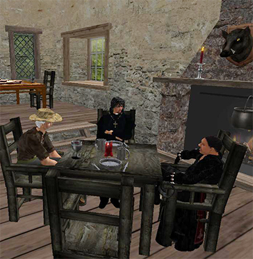 Barnard Drago and Gus Seated in Tavern