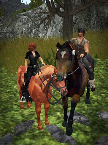 Barnard and Desire on Horseback at Cursed Isle