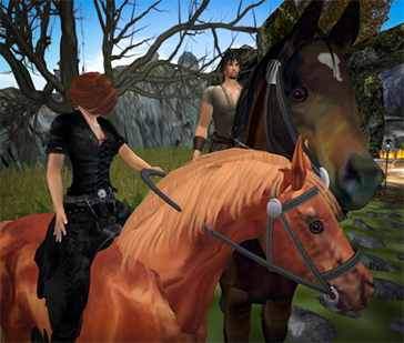 Desire and Barnard on Horseback on Cursed Isle