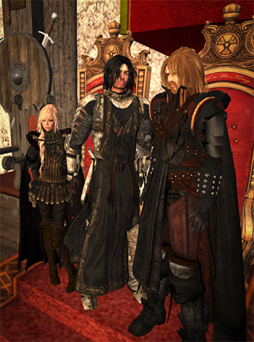 Wardens and Countess standing at Court