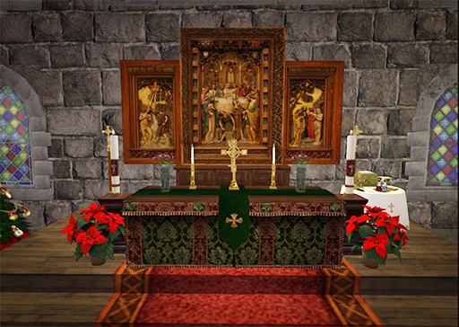 1. Church Altar Decorated for Christmas